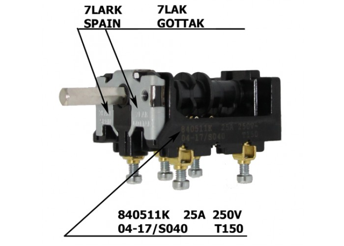 Переключатель 4-х поз. 25А для плит Абат Gottak 7LA 840511K