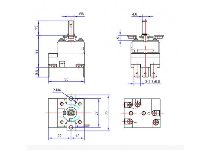 Термостат капиллярный WZA-270E 50-270С с ручкой 16A