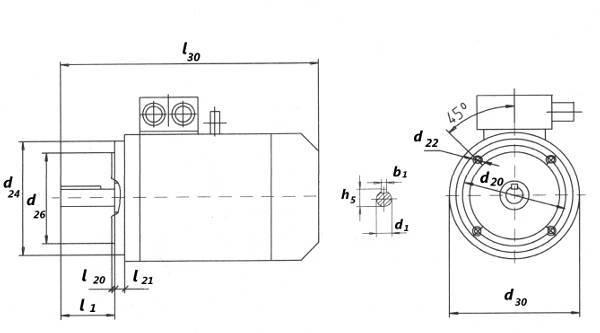 Габаритный чертеж электродвигателя АИР132М малый фланец.