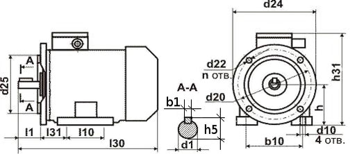 Чертеж двигателя АИР80 А2,4,6,8.