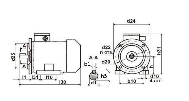 Чертеж двигателя АИР 132 М2, М4, М6, М8.