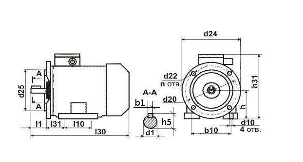 Чертеж двигателя АИР 180 S2,4.