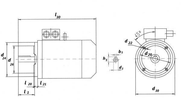 Габаритный чертеж электродвигателя АИР90L2 малый фланец.